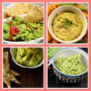 Clockwise from top left: Broccoli Guacamole, Guac-Humm-mole, Spicy Edamame Guacamole, Indian Guac